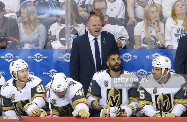 Head coach Gerard Gallant of the Vegas Golden Knights reacts during the first period against the Winnipeg Jets in Game Five of the Western Conference...