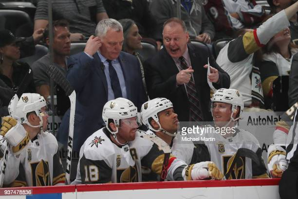 Head Coach Gerard Gallant of the Vegas Golden Knights shouts to his bench during the game against the Colorado Avalanche at the Pepsi Center on March...