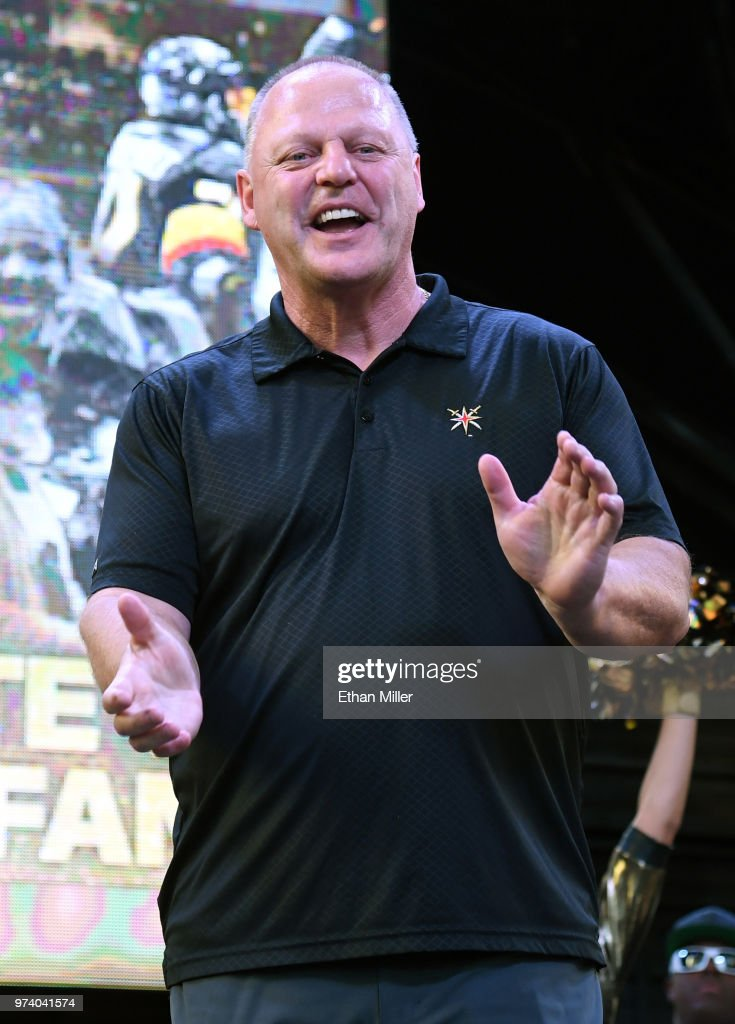 Head coach Gerard Gallant of the Vegas Golden Knights smiles during the team's 'Stick Salute to Vegas and Our Fans' event at the Fremont Street Experience on June 13, 2018 in Las Vegas. Nevada. The Golden Knights made it to the Stanley Cup Final in the team's inaugural season, losing to the Washington Capitals four games to one in the series.