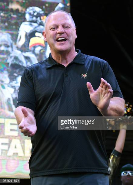 Head coach Gerard Gallant of the Vegas Golden Knights smiles during the team's 'Stick Salute to Vegas and Our Fans' event at the Fremont Street...