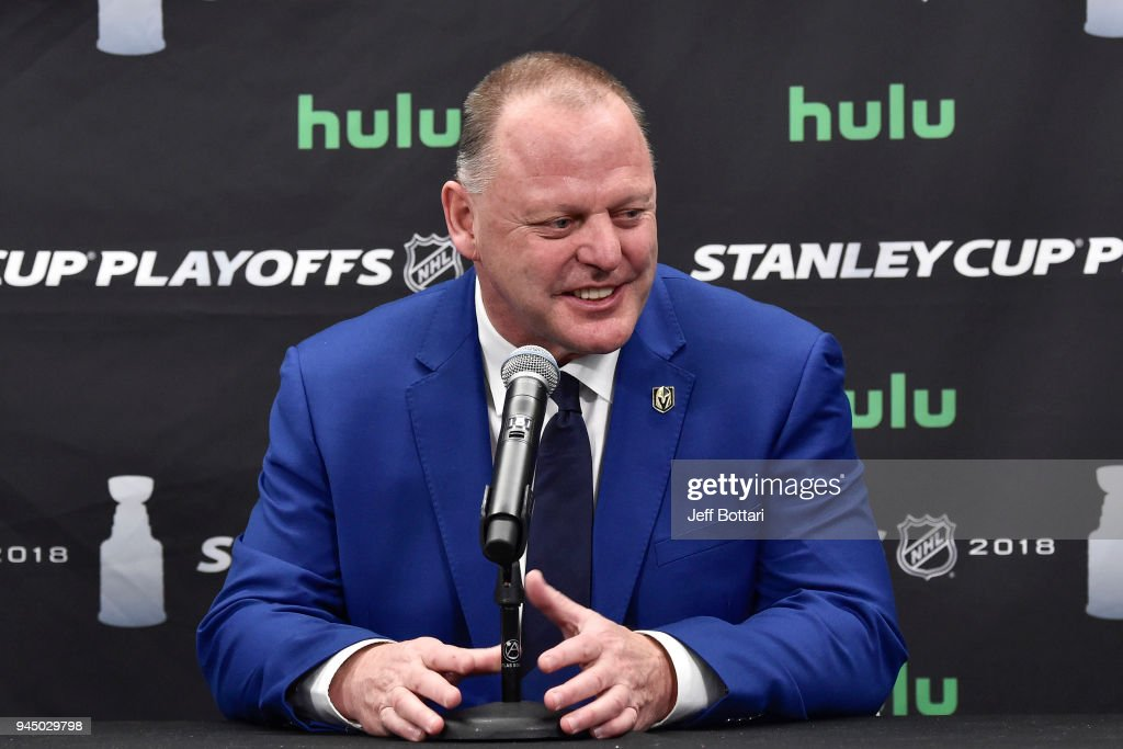 Head coach Gerard Gallant of the Vegas Golden Knights speaks during a postgame news conference after the team defeated the Los Angeles Kings 1-0 in Game One of the Western Conference First Round during the 2018 NHL Stanley Cup Playoffs at T-Mobile Arena on April 11, 2018 in Las Vegas, Nevada.