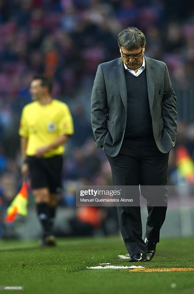 Head coach Gerardo Martino of FC Barcelona reacts during the La Liga match between FC Barcelona and Valencia CF at Camp Nou on February 1, 2014 in Barcelona, Spain.