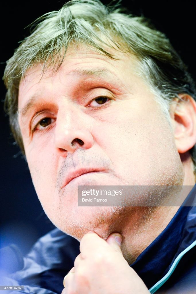 Head coach Gerardo 'Tata' Martino of FC Barcelona faces the media during a press conference ahead the UEFA Champions League Round of 16 second Leg match against Manchester City at the Sant Joan Despi Sport Complex on March 11, 2014 in Barcelona, Spain.