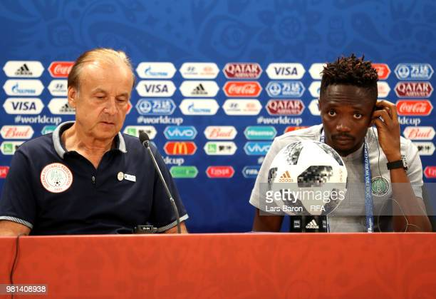 Head coach Gernot Rohr and Ahmed Musa of Nigeria attend the post match press confernece following the 2018 FIFA World Cup Russia group D match...