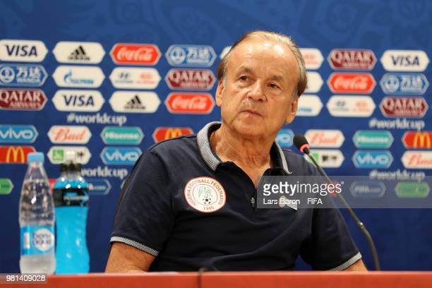 Head coach Gernot Rohr attends the post match press confernece following the 2018 FIFA World Cup Russia group D match between Nigeria and Iceland at...