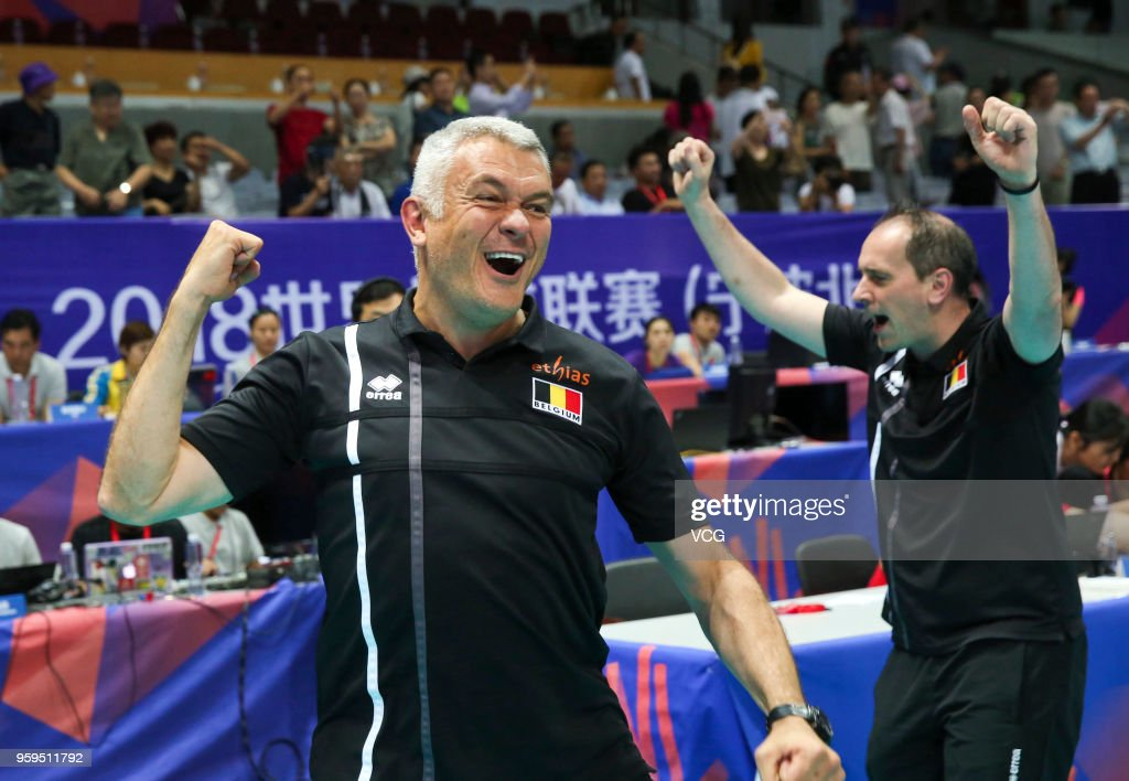 Head coach Gert Vande Broek of Belgium celebrates after defeating the Dominican Republic during the FIVB Volleyball Nations League 2018 at Beilun Gymnasium on May 17, 2018 in Ningbo, China.