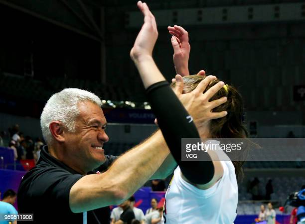 Head coach Gert Vande Broek of Belgium celebrates after defeating the Dominican Republic during the FIVB Volleyball Nations League 2018 at Beilun...