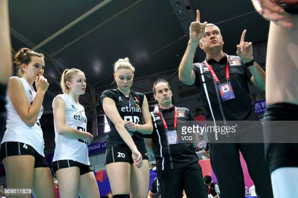Head coach Gert Vande Broek of Belgium speaks to his players against the Dominican Republic during the FIVB Volleyball Nations League 2018 at Beilun...