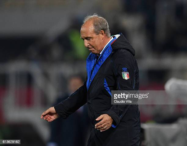 Head coach Giampiero Ventura of Italy reacts during the FIFA 2018 World Cup Qualifier between FYR Macedonia and Italy at Nacionalna Arena Filip II...