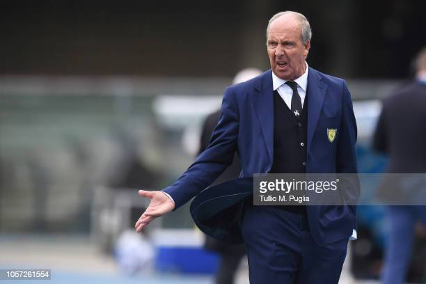Head Coach Gian Piero Ventura of Chievo Verona gestures during the Serie A match between Chievo Verona and US Sassuolo at Stadio Marc'Antonio...