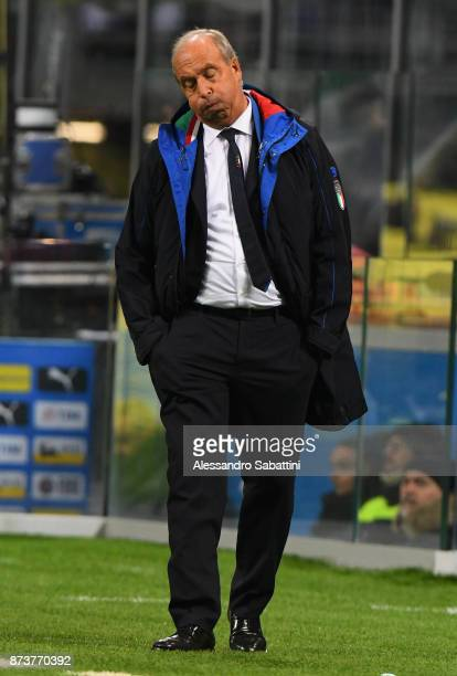 head coach Gian Piero Ventura of Italy reacts during the FIFA 2018 World Cup Qualifier PlayOff Second Leg between Italy and Sweden at San Siro...