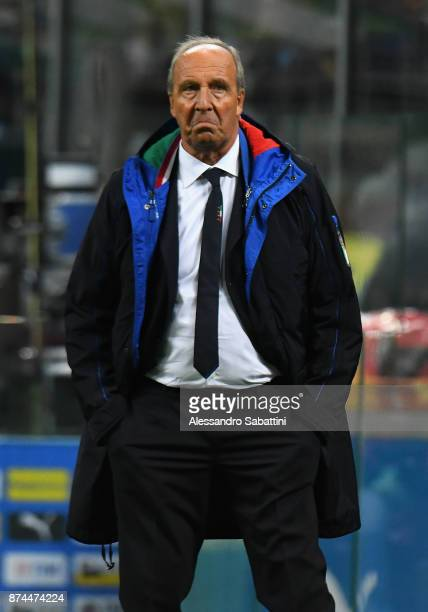 Head coach Gian Piero Ventura of Italy reacts during the FIFA 2018 World Cup Qualifier Play-Off: Second Leg between Italy and Sweden at San Siro...