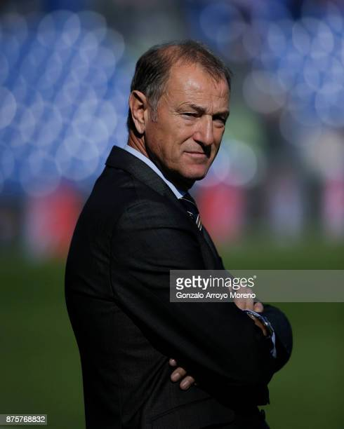 Head coach Gianni De Biasi of Deportivo Alaves looks on prior to start the La Liga match between Getafe CF and Deportivo Alaves at Coliseum Alfonso...