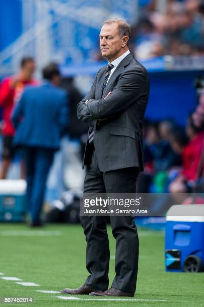 Head coach Gianni De Biasi of Deportivo Alaves reacts during the La Liga match between Deportivo Alaves and Valencia CF at Estadio de Mendizorroza on...