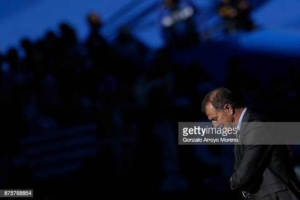 Head coach Gianni De Biasi of Deportivo Alaves reacts during the La Liga match between Getafe CF and Deportivo Alaves at Coliseum Alfonso Perez...