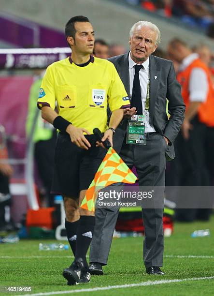 Head Coach Giovanni Trapattoni of Republic of Ireland gestures towards thwe assistant referee during the UEFA EURO 2012 group C match between Italy...