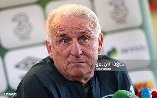 Head coach Giovanni Trapattoni of the Republic of Ireland attends a press conference at an Ireland training session at Watford FC Training Ground on...