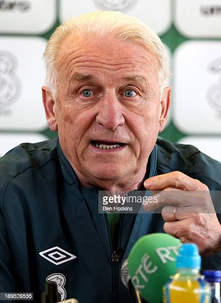 Head coach Giovanni Trapattoni of the Republic of Ireland speaks during a press conference at the Watford FC Training Ground on May 26, 2013 near St...