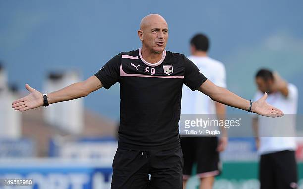 Head coach Giuseppe Sannino gestures during a US Citta di Palermo pre-season training session at Sport Well Center on July 31, 2012 in Malles Venosta...