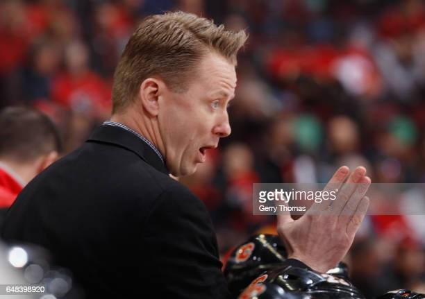 Head Coach Glen Gulutzan of the Calgary Flames rallies his troops against the New York Islanders at Scotiabank Saddledome on March 5 2017 in Calgary...