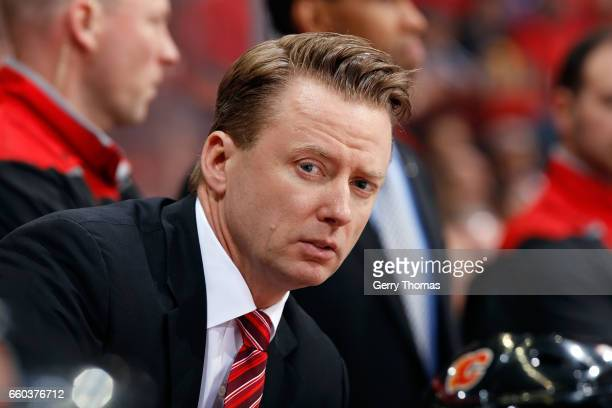 Head coach Glen Gulutzan of the Calgary Flames watches against the Los Angeles Kings during an NHL game on March 29 2017 at the Scotiabank Saddledome...