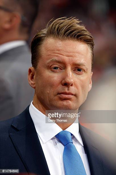 Head coach Glen Gulutzan of the Calgary Flames watches on the bench against the Edmonton Oilers during an NHL game on October 14 2016 at the...