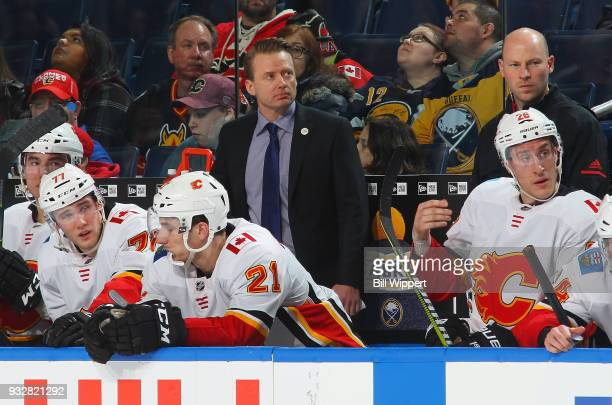 Head coach Glen Gulutzan of the Calgary Flames watches the action during an NHL game against the Buffalo Sabres on March 7 2018 at KeyBank Center in...
