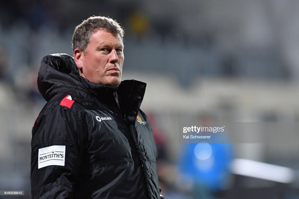 Head Coach Glenn Delaney of Canterbury looks on prior to the round five Mitre 10 Cup match between Canterbury and Counties Manukau on September 13, 2017 in Christchurch, New Zealand.