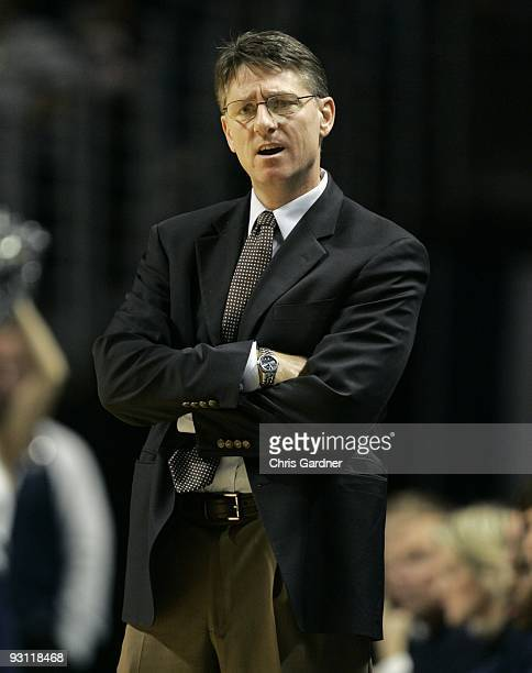 Head coach Glenn Miller the Penn Quakers coaches against the Penn State Nittany Lions at the Bryce Jordan Center on November 13 2009 in State College...