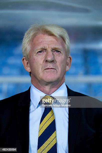 Head coach Gordon Strachan of Scotland listens to his National anthem at the bench prior to start the UEFA EURO 2016 Qualifying round Group G match...