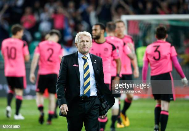 Head coach Gordon Strachan of Scotland looks on after the FIFA 2018 World Cup Qualifier match between Slovenia and Scotland at stadium Stozice on...