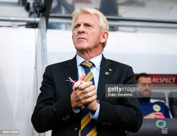 Head coach Gordon Strachan of Scotland looks on prior to the FIFA 2018 World Cup Qualifier match between Slovenia and Scotland at stadium Stozice on...