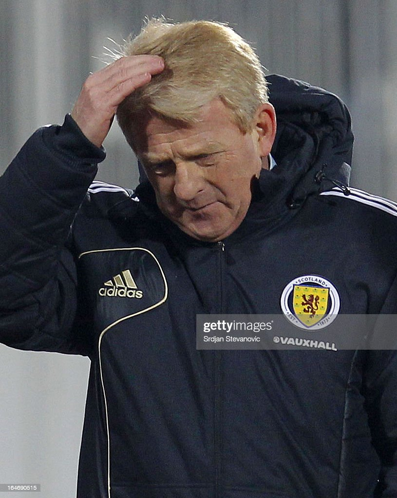 Head coach Gordon Strachan of Scotland reacts during the FIFA 2014 World Cup Qualifier between Serbia and Scotland at Karadjordje Stadium on March 26, 2013 in Novi Sad, Serbia.