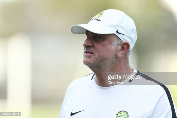 Head coach Graham Arnold during a Australian Socceroos training session at Lion FC Stadium on November 13 2018 in Brisbane Australia