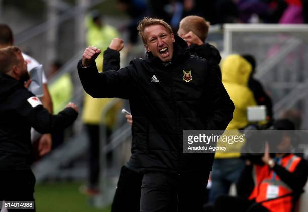 Head coach Graham Potter of Ostersund celebrates after the goal of Saman Ghoddos during the UEFA Europa League 2nd Qualifying Round soccer match...