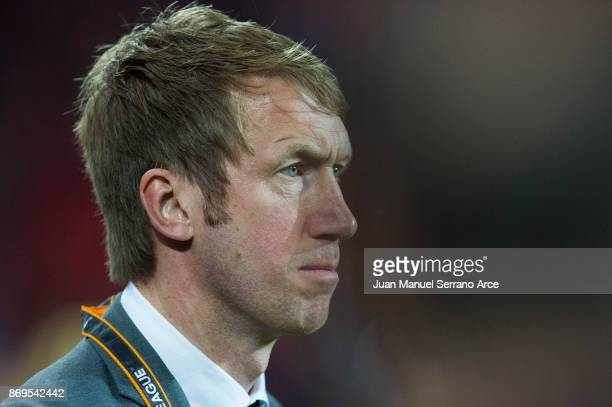 Head coach Graham Potter of Ostersunds FK looks on prior to the start the UEFA Europa League group J match between Athletic Bilbao and Ostersunds FK...