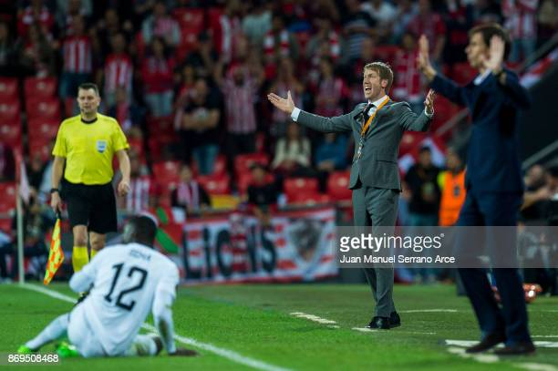 Head coach Graham Potter of Ostersunds FK reacts during the UEFA Europa League group J match between Athletic Bilbao and Ostersunds FK at San Mames...