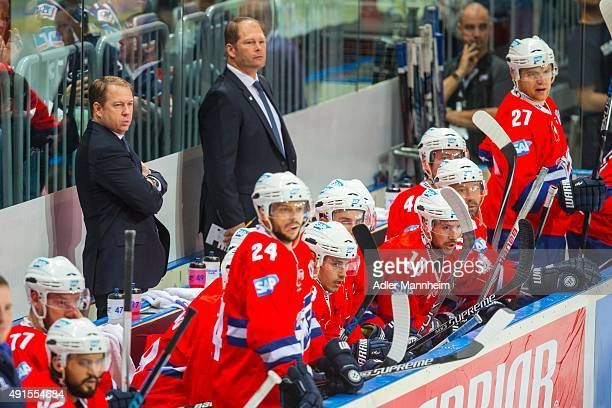 Head Coach Greg Ireland of Adler Mannheim watches the action during the Champions Hockey League round of thirty-two game between Adler Mannheim and...