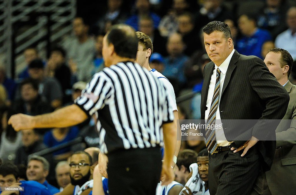 Head coach Greg McDermott of the Creighton Bluejays glaring at the officials during their game against the Missouri State Bears at the CenturyLink Center on January 30, 2013 in Omaha, Nebraska.