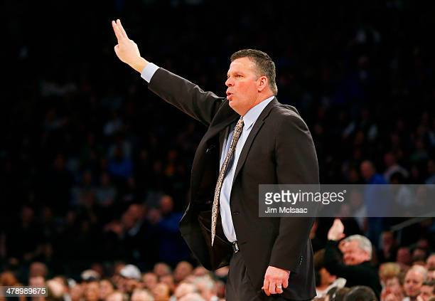 Head coach Greg McDermott of the Creighton Bluejays reacts in the second half against the Providence Friars during the Championship game of the 2014...