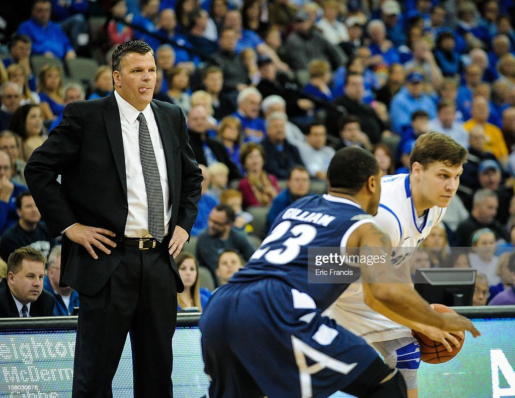 Head coach Greg McDermott of the Creighton Bluejays watches his offense work during their game against the Akron Zips at the CenturyLink Center on December 9, 2012 in Omaha, Nebraska.