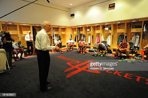 Head Coach Greg Popvich of the Western Conference AllStars speaks to his team prior to the 2013 NBA AllStar Game on February 17 2013 at Toyota Center...