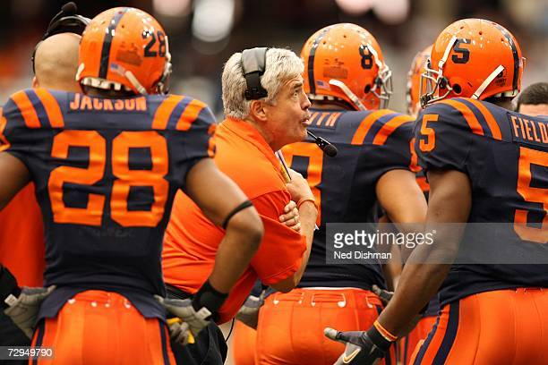 Head coach Greg Robinson of the Syracuse University Orange yells on the sideline against the University of Pittsburgh Panthers at the Carrier Dome on...