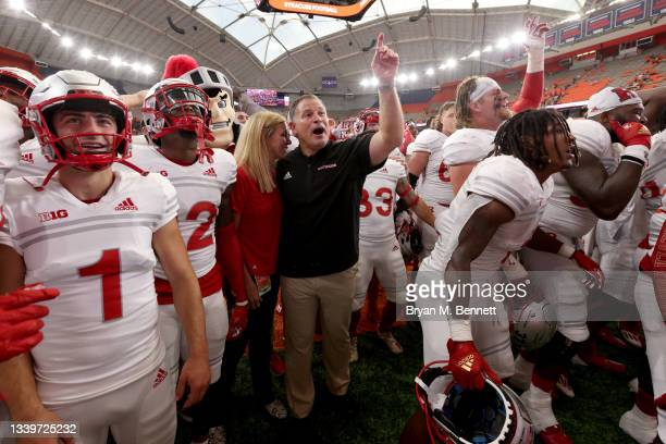 Head Coach Greg Schiano of the Rutgers Scarlet Knights celebrates after defeating the Syracuse Orange 17-7 at Carrier Dome on September 11, 2021 in...