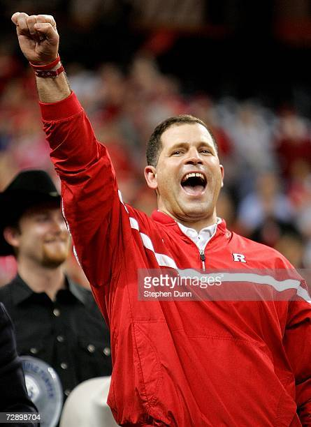 Head coach Greg Schiano of the Rutgers Scarlet Knights celebrates after playing the Kansas State Wildcats in the Texas Bowl on December 28 2006 at...
