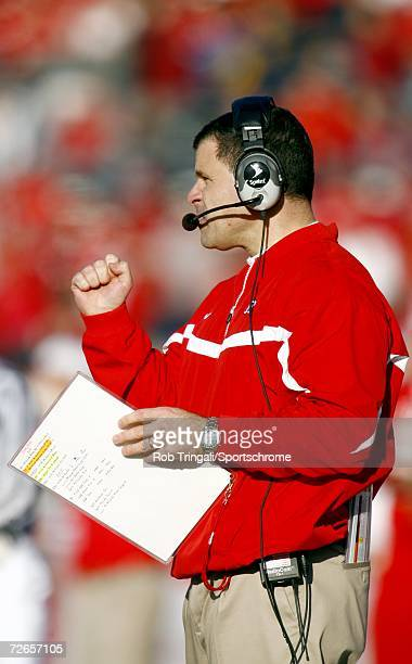 Head Coach Greg Schiano of the Rutgers Scarlet Knights looks on against the Syracuse Orange at Rutgers Stadium on November 25, 2006 in Piscataway,...