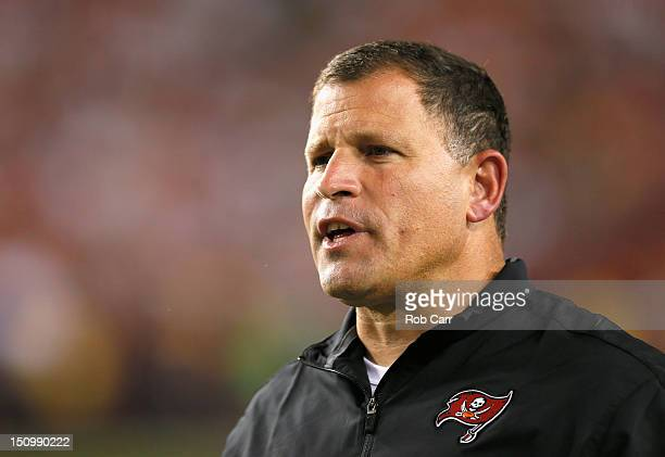 Head coach Greg Schiano of the Tampa Bay Buccaneers looks on from the sidelines during the second half against the Washington Redskins at FedExField...