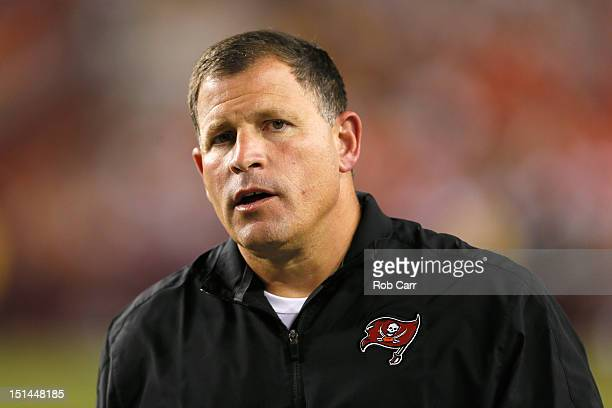 Head coach Greg Schiano of the Tampa Bay Buccaneers looks on from the sidelines against the Washington Redskins at FedExField on August 29 2012 in...