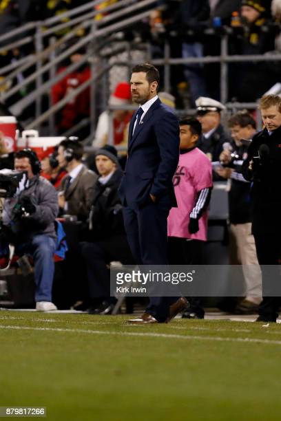 Head coach Greg Vanney of the Toronto FC watches as his team takes on the Columbus Crew SC during the match at MAPFRE Stadium on November 21 2017 in...
