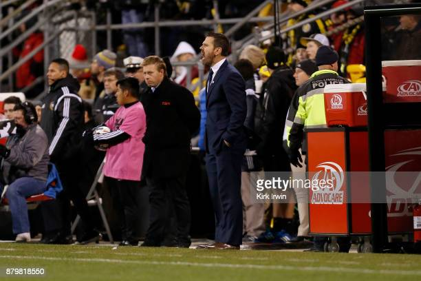 Head coach Greg Vanney of the Toronto FC yells to his players as his team takes on the Columbus Crew SC during the match at MAPFRE Stadium on...